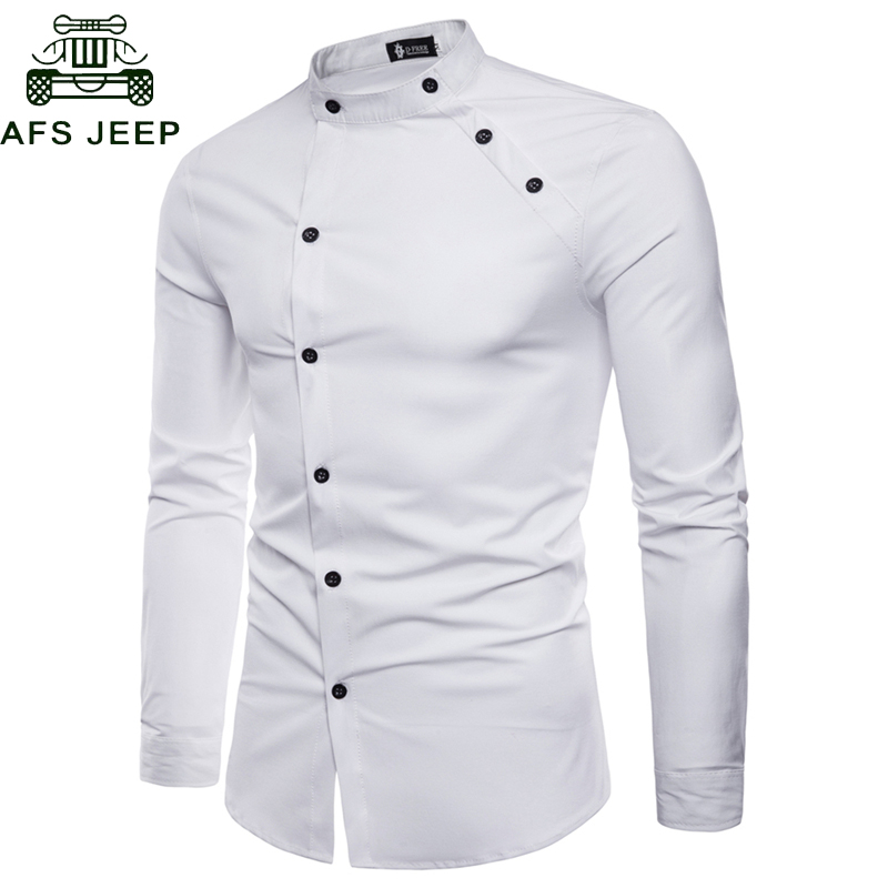 New 2018 Summer Cutting Double Threshold Mens Shirts Slim Long Sleeve Dress Shirts Camisa Masculina Casual Shirts Men Size M-2XL