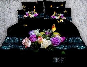 Mariposa 3D Rosa Juegos De Ropa De Cama De Conjunto De Edredón Funda Nórdica De La Cama En Una Bolsa Hojas Hoja Edredón Super Rey Reina Tamaño Doble 5 Piezas