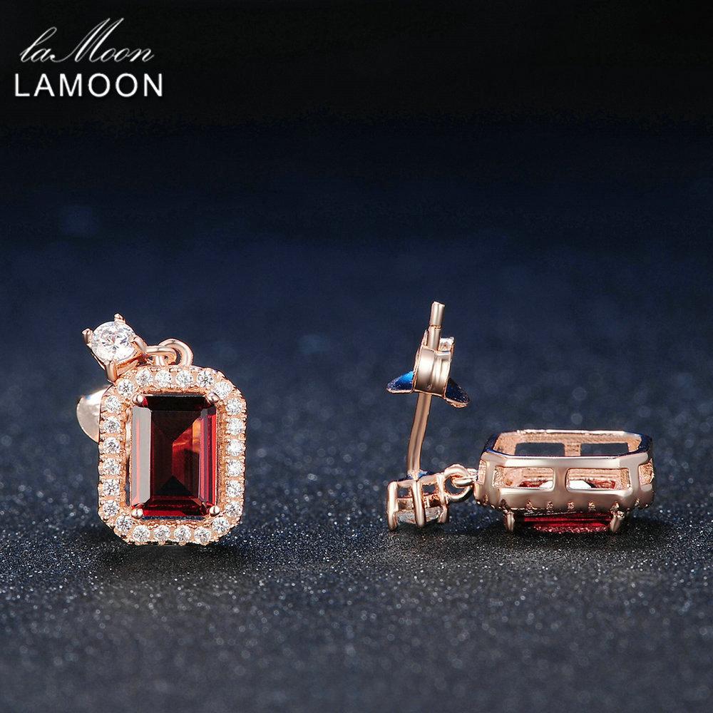 Lamoon Dangle Earring 1.1ct 100% Natural Red Garnet Square Gemstone - Fine Jewelry - Photo 3