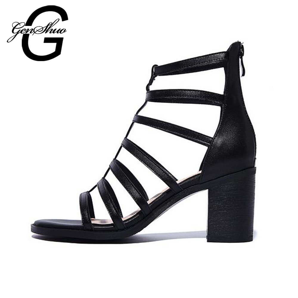 GENSHUO 2017 Summer Shoes Ladies Genuine Leather Women Gladiator Sandals Ladies Fashion Chunky Heel Cut-Outs Rome Sandals Shoes 2017 genuine leather gladiator sandals women personality mid heel sandals rome summer female shoes casual