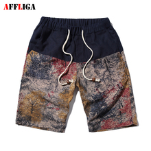 AFFLIGA 2017 New Summer Cotton Linen Casual Shorts Men Men Ethnic Style Bermuda Hombre Shrots Beach Short 7Color Plus Size M-5XL