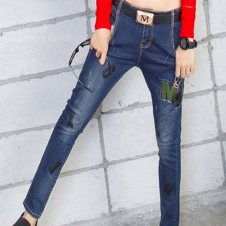 ФОТО 2016cj new Korean skinny jeans girl painted cloth slim feet Haren jeans