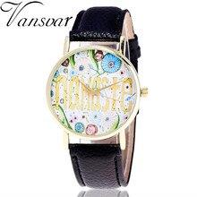 Vansvar Model Vogue Namaste Watch Informal Ladies Watches Girls Classic Leather-based Quartz Watches Relogio Feminino V38