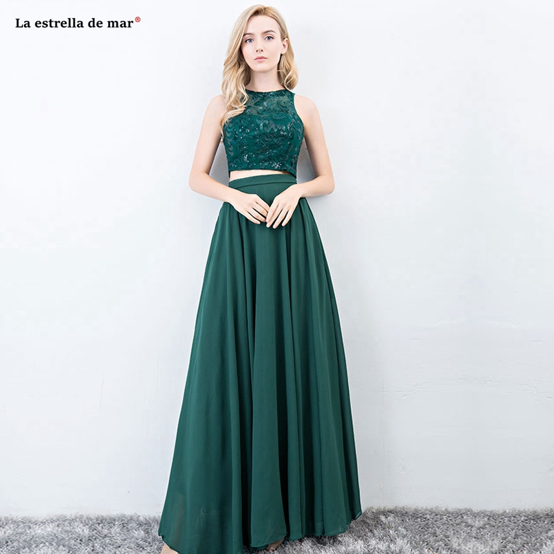 Vestido madrinha Hot Scoop neck sequined lace chiffon 2 pieces dark green   bridesmaid     dresses   Floor Length wedding guest   dress