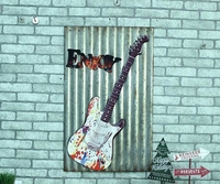 ENROY Large Guitar Tin Sign Vintage Iron Painting KTV Bar Hanging Ornaments Decor Retro Mural Poster Metal Wall Sticker 60X40 CM