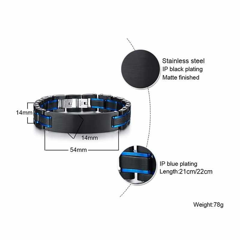 Vantage Custom Mens Bracelet Heavy Punk Stainless Steel Blue Black Free Engraving Father's DAD Gifts Pulseira Masculina