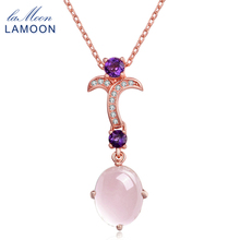 ФОТО lamoon flower 8x10mm 100% natural gemstone oval rose quartz chain necklace 925 sterling silver fine jewelry for woman lmni013