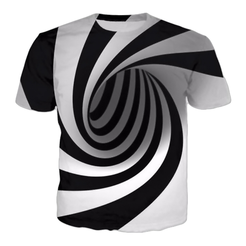 PLstar Cosmos Summer New Fashion Print Short-sleeve Tees Men/women Black&White Vertigo Hypnotic Printed T Shirt Men's 3D T-shirt