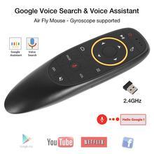 AMKLE G10 voix télécommande 2.4G sans fil Gyroscope Air mouche souris micro IR apprentissage pour Android tv box T9 H96 MECOOL XIAOMI