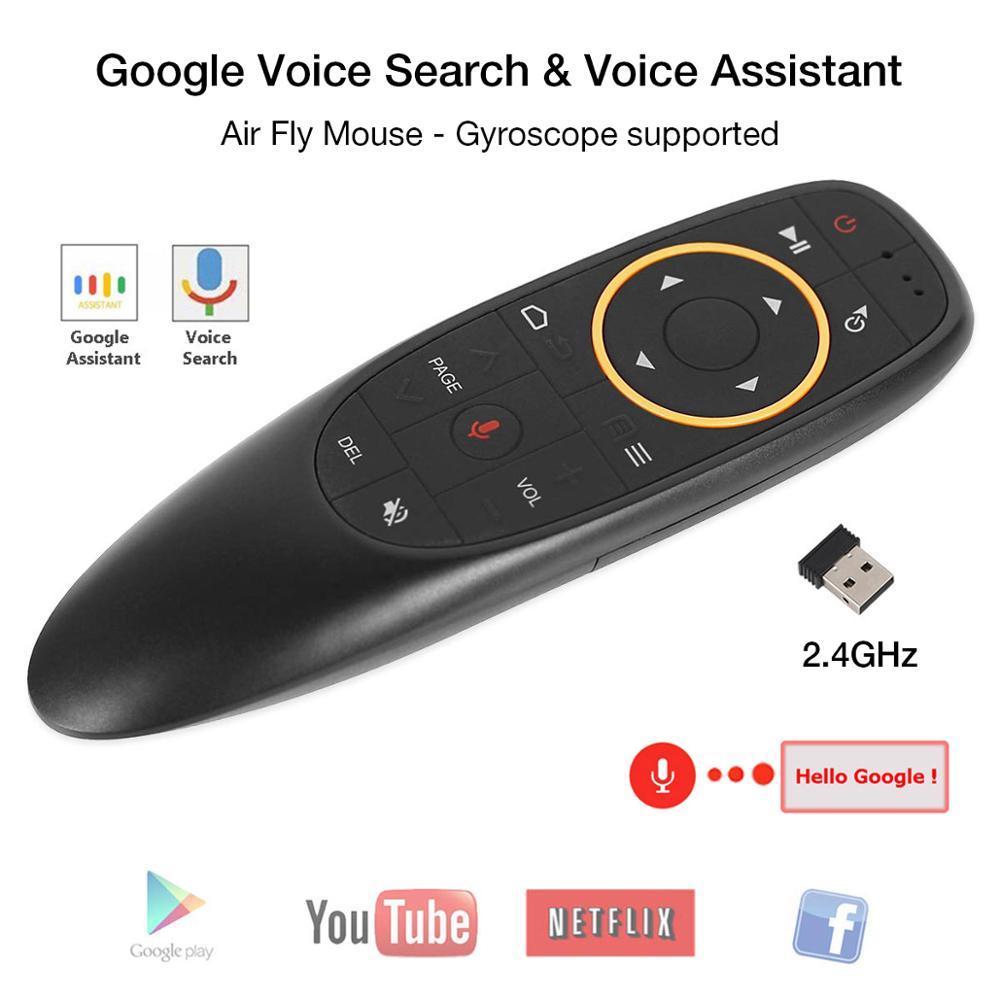 Amkle g10 controle remoto de voz 2.4g sem fio giroscópio voar ar mouse mic ir aprendizagem para android tv caixa t9 h96 mecool xiaomi