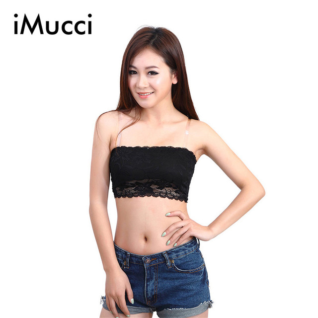 81f840fd7 iMucci Women Sexy Underwear Lace Casual Crop Boob Tube Top Bandeau Free  Solid Bra Strapless Seamless