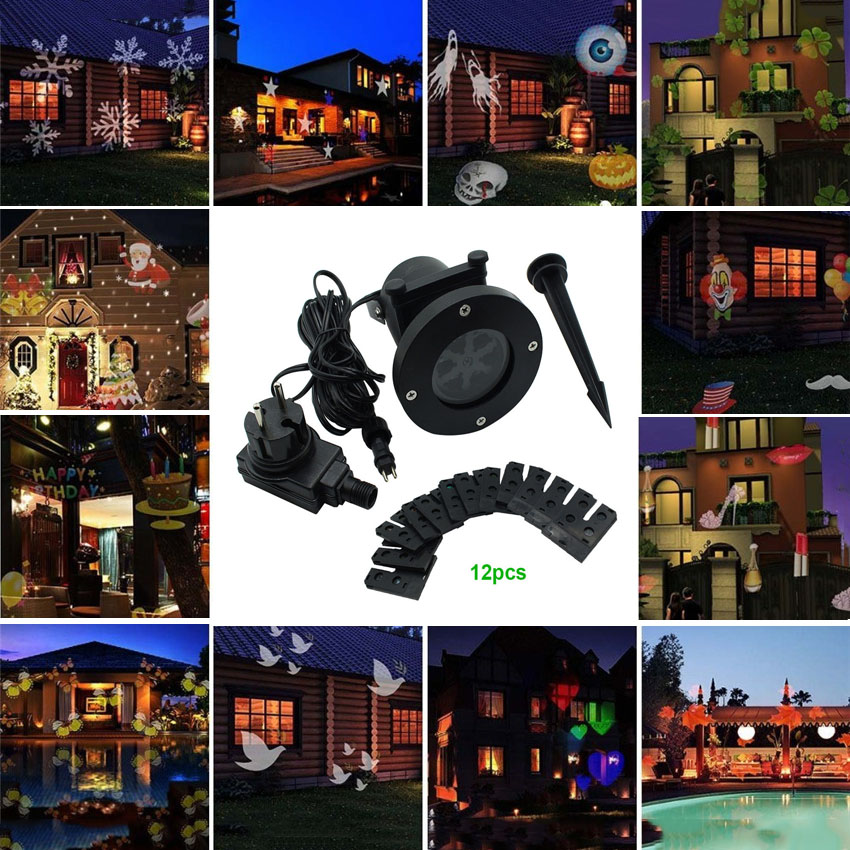 ФОТО Christmas Outdoor Landscape LED Stage Lights 12 Types Christmas Laser Projector Snowflake Love ProjectorGarden Star Light