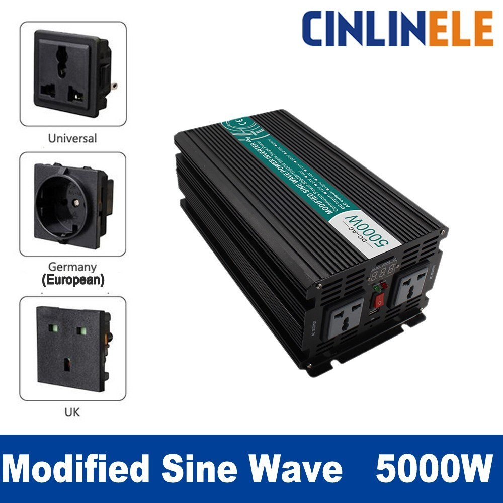 Smart Modified Sine Wave Inverter 5000W CLP5000A DC 12V 24V to AC 110V 220V Smart Series Solar Power 5000W Surge Power 10000W free shipping new 170m6149 1100a 1250v module