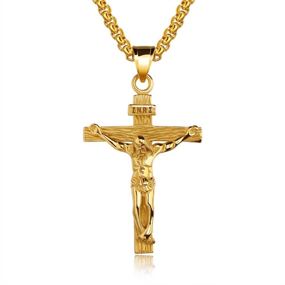 Vintage Cross Inri Crucifix Jesus Piece Necklaces