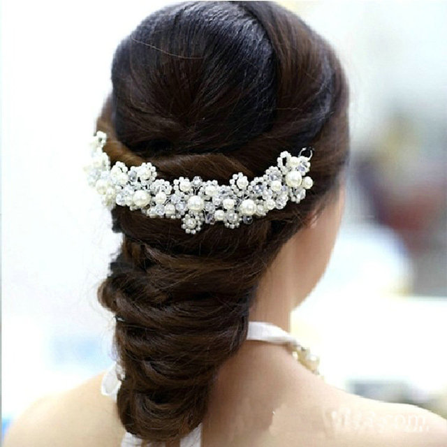 New Korean hair White pearl crystal bride headdress by hand Wedding dress accessories bridal hair jewelry 1pcs Free Shipping