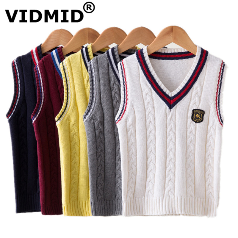 все цены на VIDMID Baby Vest Boys Knit Vest Waistcoat Sleeveless Jacket for Children Knitwear Sweater V-neck Pullover Kids Clothing 7016 02