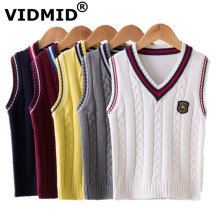 VIDMID Baby Vest Boys Knit Vest Waistcoat Sleeveless Jacket for Children Knitwear Sweater V-neck Pullover Kids Clothing 7016 02