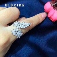 Hibride dropshipping pera corte AAA cubic zirconia piedra ajustable mujeres Anillos Plumas forma anillo de dedo del partido r-193