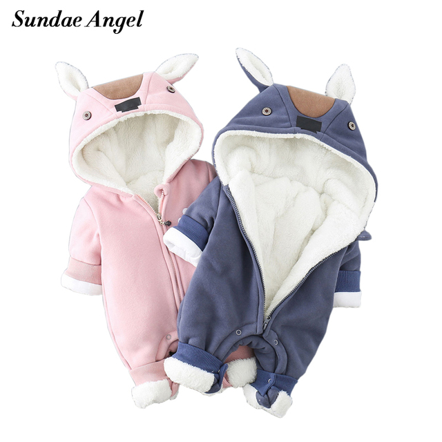 b76ebcd98 SundaeAngel Newborn Baby Boy Rompers Winter Baby Girl Clothes Thicken  Cartoon Animal Snowsuit Warm Fleece Hoodie Infant Jumpsuit