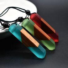 Collier en résine et bois pour hommes et femmes, pendentif Vintage, mode main, bijoux applicable, pierre naturelle, cadeaux