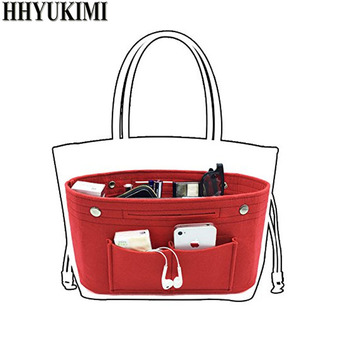 Makeup Storage Organizer,Felt Cloth Insert Cosmetic Bag Multi-pockets Fits in Handbag Cosmetic Toiletry Bag for Travel Organizer 4