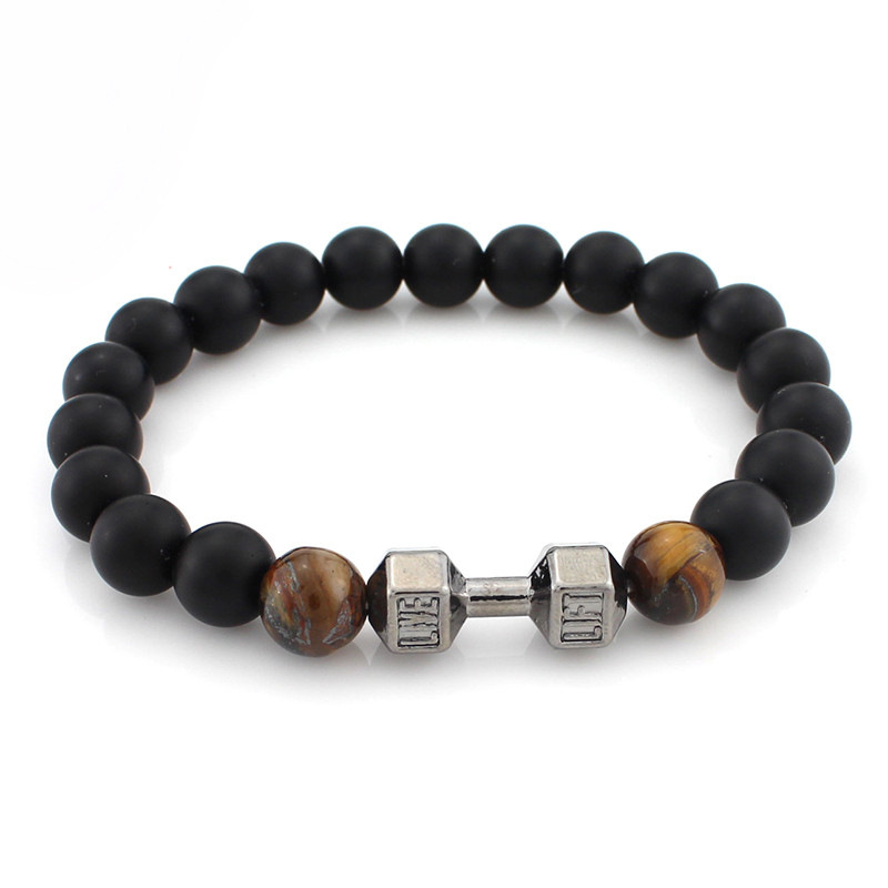 SUTI Wholesale 5pcs/lot Natural Stone Lava Tiger Eye Beads Fitness Yoga Energy Charm Dumbbells Bracelets For Men&Women Gifts