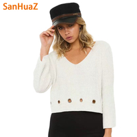 SanHuaZ Brand 2017 Autumn Winter Women S Sweaters Casual V Neck Long Sleeve Knitted Hollow Out