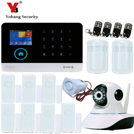 YobangSecurity Android IOS APP IP Camera Detector Sensor Home Alarm Security System GPRS GSM WIFI Touch Keypad LCD Display yobangsecurity touch keypad wifi gsm gprs home security voice burglar alarm ip camera smoke detector door pir motion sensor