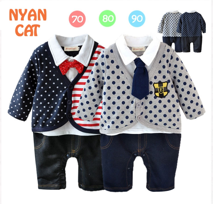 Free Shipping 3sets/lot Baby Boy's Formal long sleeve Romper