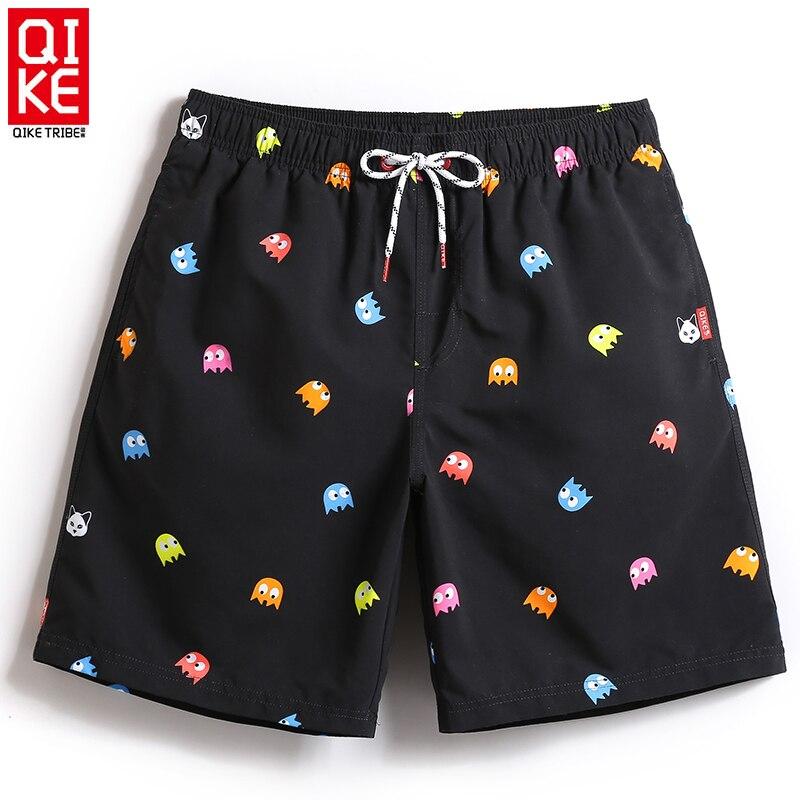 Pantalones cortos de playa para hombre, traje de baño, malla, sudor, bañador negro