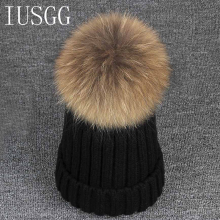 Winter Hat for Women Men Mink and Fox Fur Ball Cap Pom Poms Girl's Wool Hat Knitted Cotton Beanies Cap Brand New Thick Female цена