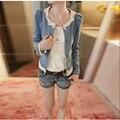 Кружева трепал Джинсовые Куртки супер тонкий джинсовая одежда джинсы женские пальто топы дамы кружева джинсы FS0095