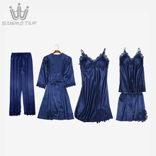 Women Sexy Lace Pajamas Silk Pijama Satin Sleepwear 5 Pieces