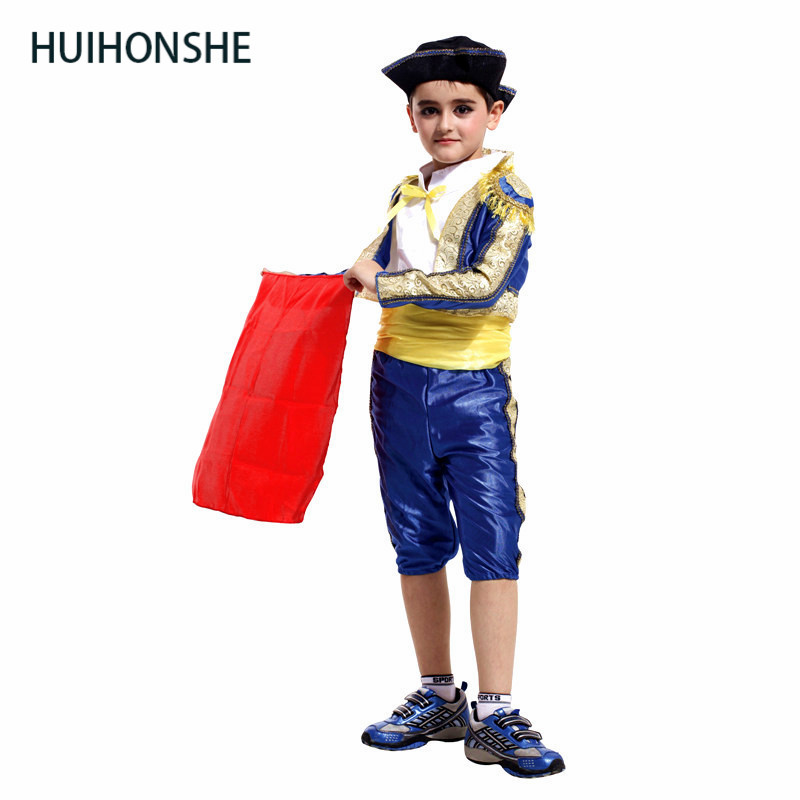 HUIHONSHE NEW Spanish Bullfighter Festival Halloween Boy Cosplay Costume Matador Costumes for Kids Matador clothes