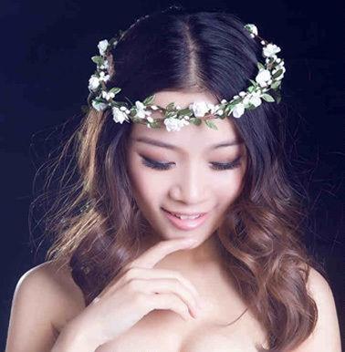 1PC Wedding Bridesmaid Flower Women Summer Hairband Headwear Floral Festival Forehead Headband Hair Garland Band Accessories