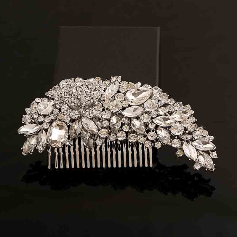 Clear Rhinestone Crystals Wedding Bride Bridal Hair Accessories 2017 Floral Hair Comb Head Pieces Hair Pins Jewelry Accessories