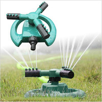 360 Degree Fully Rotating Water Sprinkler 3 Nozzles Garden Pipe Hose Irrigation Spray Grass Lawn Watering