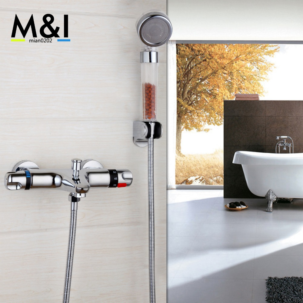 Bathroom Contemporary Wall Mounted Thermostatic Faucets Polished Chrome Mixer Tap Shower Set Rain Bathtub Faucets Shower Set polished chrome double cross handles wall mounted bathroom clawfoot bathtub tub faucet mixer tap w hand shower atf902