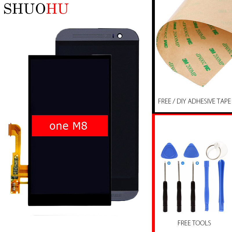 Tested LCD Screen 5.0 inch For HTC ONE M8 LCD Display Touch Digitizer Screen Assembly with Frame 1920x1080 lcd screen display touch panel digitizer with frame for htc one m9 black or silver or gold free shipping