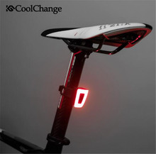 CoolChange Bicycle LED USB Rechargeable Safety Night Riding Rear Light Bike Waterproof Cycling Helmet Taillight
