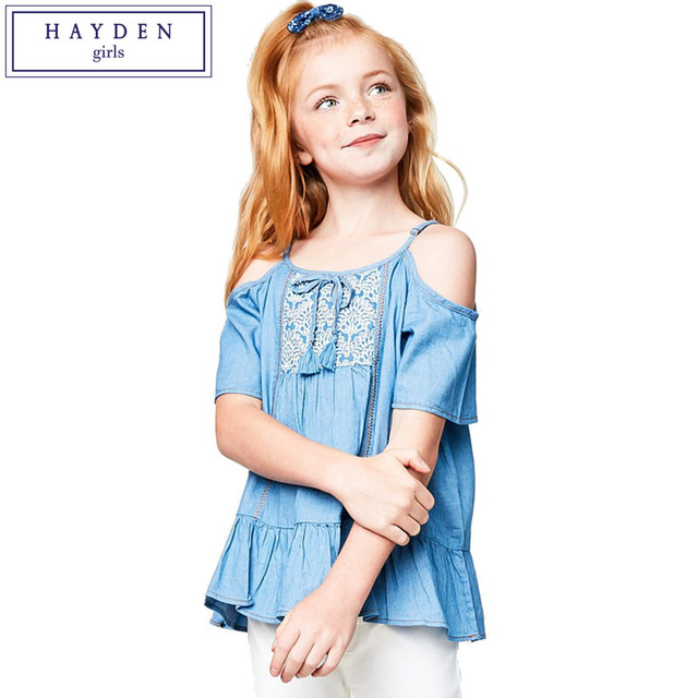 028835b879b609 HAYDEN Girls 100% Cotton Charmbray Shirt Top Teens Lace Spaghetti Strap  Shirt Kids Embroidered Cold Shoulder Tops Size 7 to 14