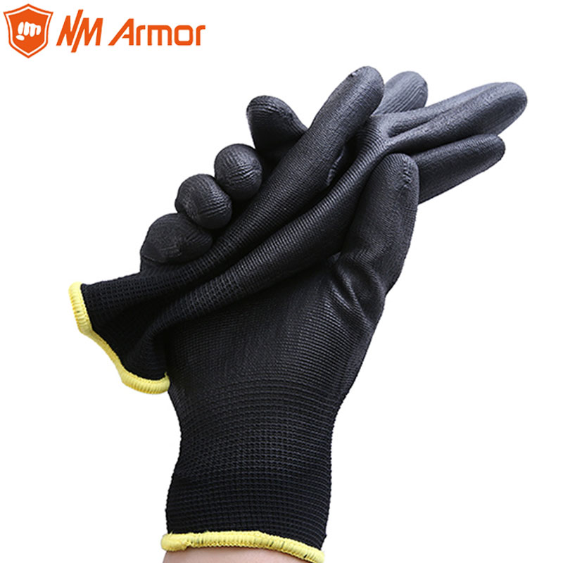 NMArmor 13 Gauge Seamless Knitted Black Nylon PU Safety Work Gloves