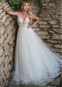 Image 3 - עדין טול V צוואר מחשוף אונליין חתונת שמלה עם חרוזים תחרה אפליקציות ספגטי רצועות שמלות כלה