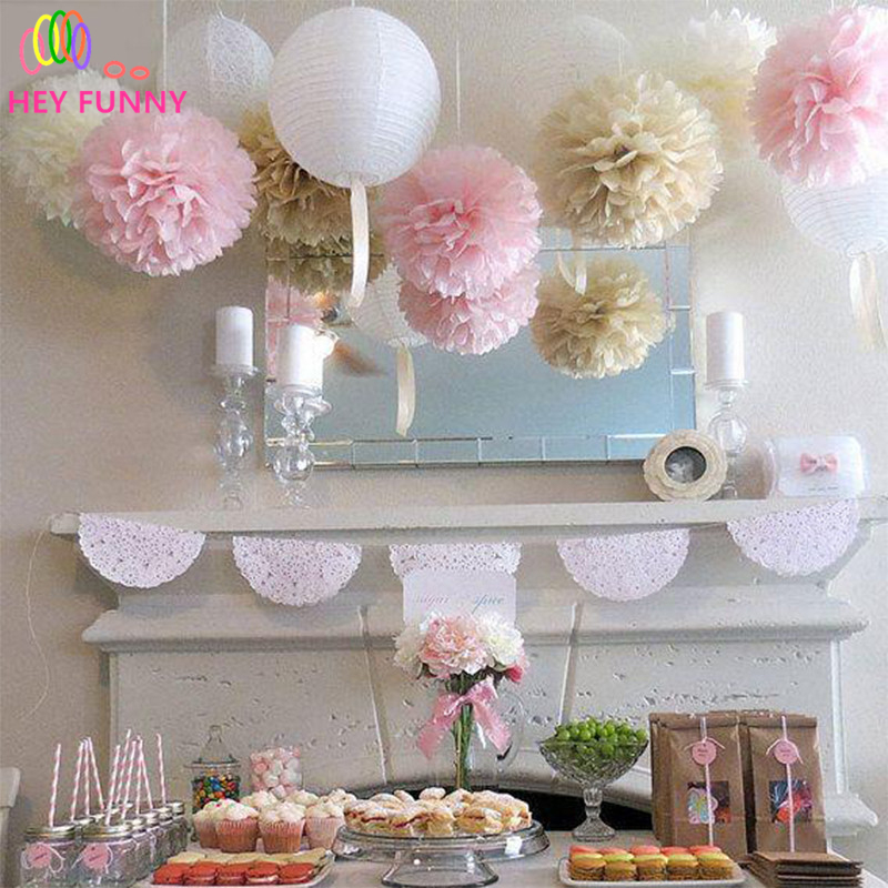 2 pcs 10inch Tissue Paper flower ball Garland DIY Wedding Paper Flower Decorations Birthdays Party Decorations Event Gift Pack