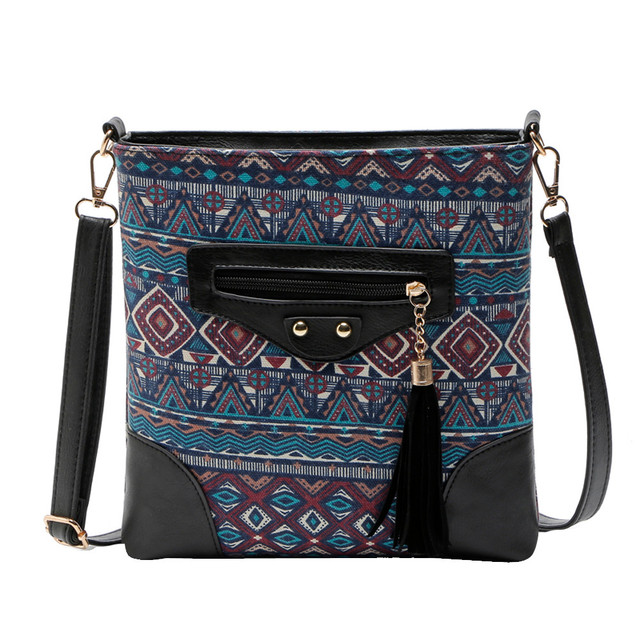 Ethnic Canvas Sling Bag Women Chinese Style Shoulder Bag Female Casual National Bag Bohemian Printing Crossbody Bags
