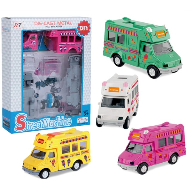 Die-casts Ice Cream Truck Model Toys with Pullback Action for Baby Playing Learning Durable Car Model Kits- Color Random