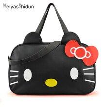 MeiyasShidun Women Travel Duffel font b Bag b font Hello Kitty Cartoon Handbags weekend trip tote
