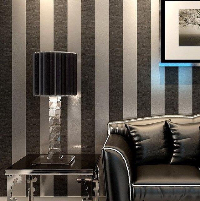 Neue Moderne Schwarze Tapete Striped Lila Und Silber Glitter Wandpapierrolle Fr Wand Wohnzimmer Schlafzimmer TV Sofa