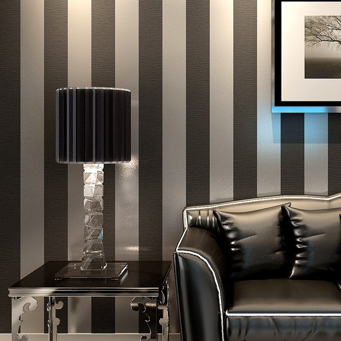 New Modern Black Wallpaper Striped Purple And Silver Glitter Wall