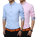 2016 Luopei Мужская Мода С Длинным Рукавом 100% Cutton Turn Down Воротник Рубашки